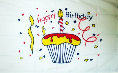 HAPPY BIRTHDAY (CAKE) - HAND WAVING FLAG (MEDIUM)